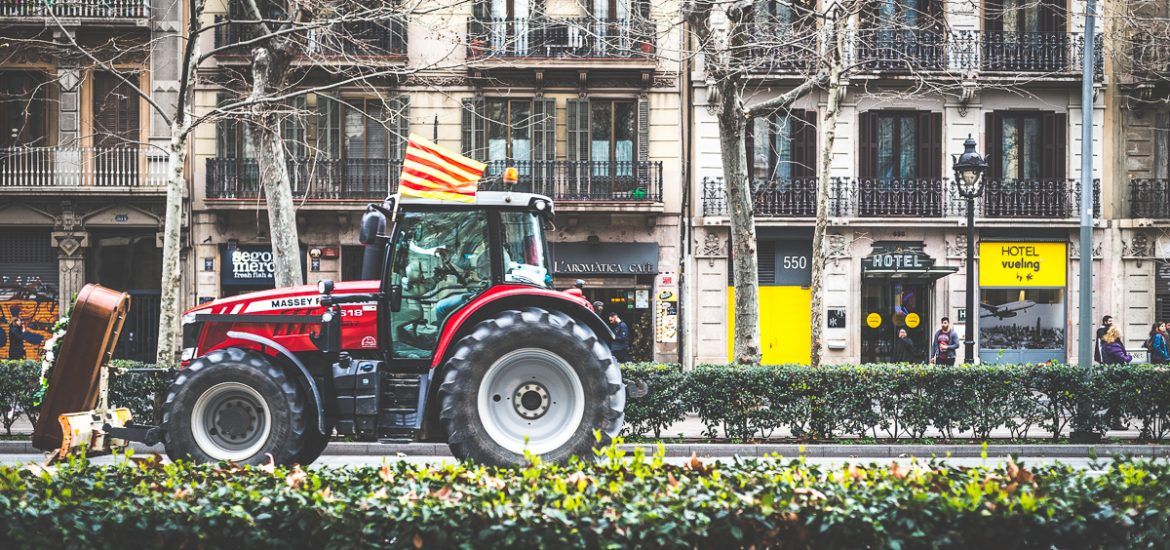 Tractor on the road in Barcelona